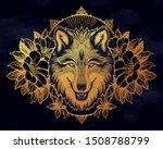 wolf portrait in flowers frame... | Shutterstock .eps vector #1508788799