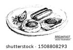 breakfast in hand drawn sketch... | Shutterstock .eps vector #1508808293