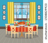 holiday table with food and... | Shutterstock .eps vector #1508829923