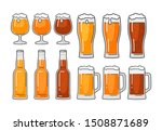 glass and bottle with different ... | Shutterstock .eps vector #1508871689