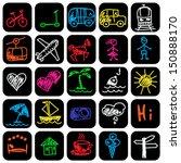 set of hand drawn travel icons