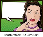 comic style confused housewife  | Shutterstock . vector #150890804