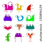 set of cute monsters isolated... | Shutterstock .eps vector #150896159