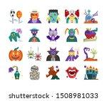 halloween flat icon set  vector ... | Shutterstock .eps vector #1508981033
