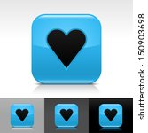 heart sign blue glossy icon....
