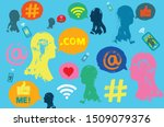 illustration with heads  social ... | Shutterstock . vector #1509079376