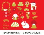 Stock vector mouse and lucky charm illustration for new year s day new year s card 1509139226