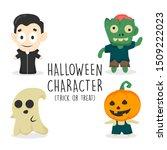 set of halloween character... | Shutterstock .eps vector #1509222023