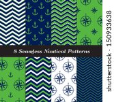Nautical Navy Blue  Green And...