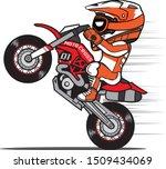 motocross rider wheelie a dirt...   Shutterstock .eps vector #1509434069