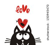 valentines day card cat and... | Shutterstock .eps vector #150945470