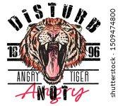 tiger snarls face vector art... | Shutterstock .eps vector #1509474800