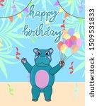 Baby Hippo Birthday Card  Cute...
