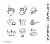 cooking icon set  kitchen tools ... | Shutterstock .eps vector #1509586046