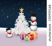 2 cute snowmen are decorating... | Shutterstock . vector #150959168