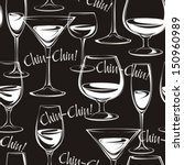 seamless wine glasses on a... | Shutterstock .eps vector #150960989