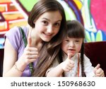 happy family moments giving... | Shutterstock . vector #150968630