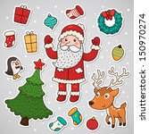 christmas and new year stickers | Shutterstock .eps vector #150970274
