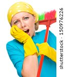 young woman   cleaning maid... | Shutterstock . vector #150976226