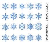 blue snowflake vector icons set | Shutterstock .eps vector #1509786650