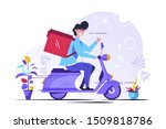 food delivery service. young... | Shutterstock .eps vector #1509818786