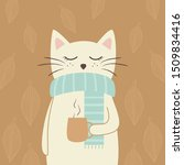 cute white cat with tea cup.... | Shutterstock .eps vector #1509834416