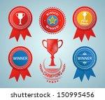 winner ribbons and badges.... | Shutterstock .eps vector #150995456