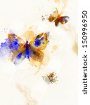 abstract butterfly with blue... | Shutterstock . vector #150996950