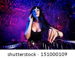 beautiful sexy dj girl working... | Shutterstock . vector #151000109