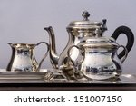 ������, ������: chrome tea set on