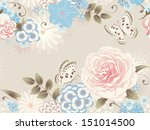 rose and butterfly. floral...