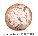 Brown bread dusted the flour. - stock photo