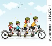 family cycling. happy family. | Shutterstock .eps vector #151027244