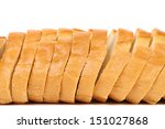 Close up of sliced long loaf. - stock photo