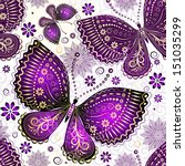 Stock vector seamless spring transparent pattern with violet gold butterflies and flowers vector eps 151035299