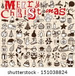 christmas hand drawn icon's set   Shutterstock .eps vector #151038824