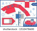 cut and glue the paper a boat.... | Shutterstock .eps vector #1510478600