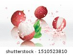Lychee Fruits Into Splashes Of...