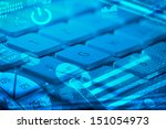 computer keyboard with glowing... | Shutterstock . vector #151054973