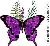 morpho violet butterfly with... | Shutterstock .eps vector #1510583429