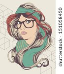 sexy hipster girl with hipster... | Shutterstock .eps vector #151058450