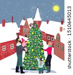 family decorates the christmas... | Shutterstock .eps vector #1510645013