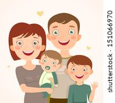 family with sons. happy family | Shutterstock .eps vector #151066970