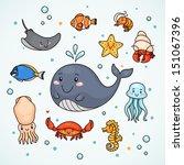 cute sea life  shrimp  starfish ...   Shutterstock .eps vector #151067396