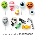 halloween candy vector set for...