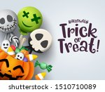 Trick or treat hallowenn greeting card vector background. Halloween trick or treat with pumpkin and scary sweets elements of candies like candy cane and lollipop for party invitation in gray.