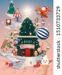 christmas tree on iceberg... | Shutterstock .eps vector #1510733729