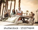 young people in a car having...   Shutterstock . vector #151074644