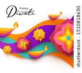 diwali hindu festival greeting... | Shutterstock .eps vector #1510818650
