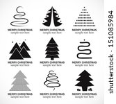 Christmas Tree Icons Set - Isolated On White Background - Vector Illustration, Graphic Design Editable For Your Design.